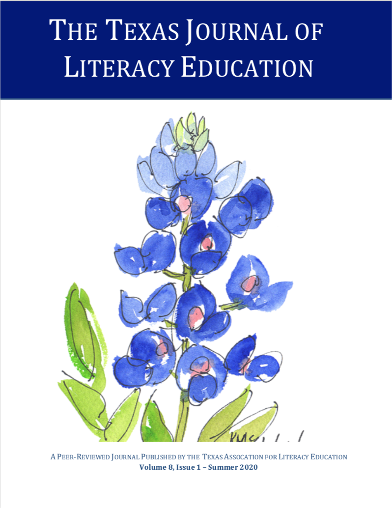 Cover image of TJLE Volume 8 Issue 1 with image of a watercolor bluebonnet in the center