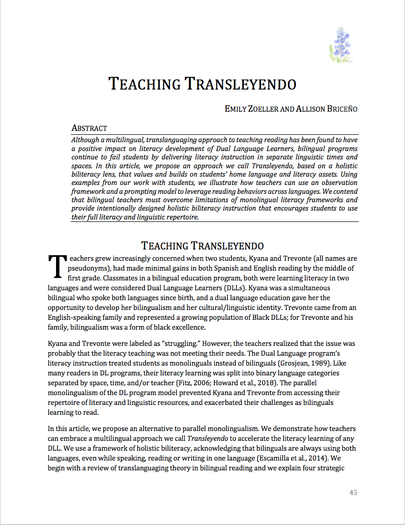 """First page of article """"Teaching Transleyendo"""""""