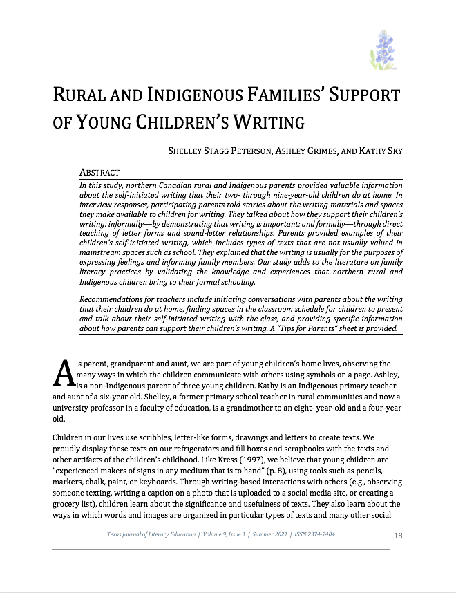 """First page of article """"Rural and Indigenous Families' Support of Young Chlldren's Writing"""""""